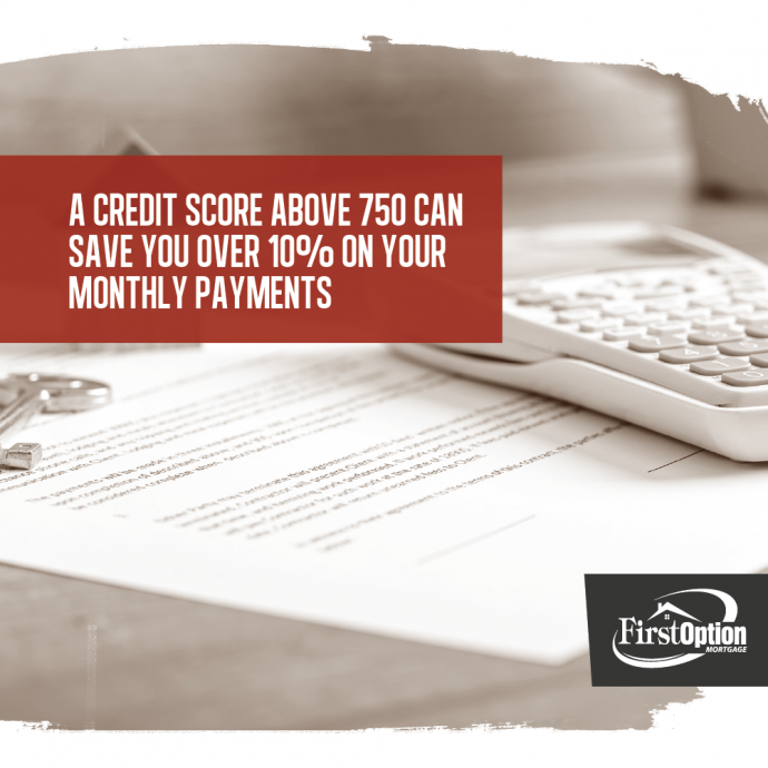 a credit score above 750 can save you over 10% on monthly payments.